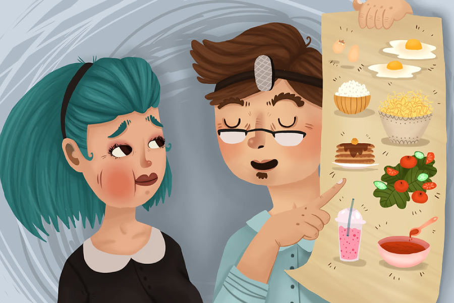 Cartoon of dentist recommending soft foods after root canal therapy.